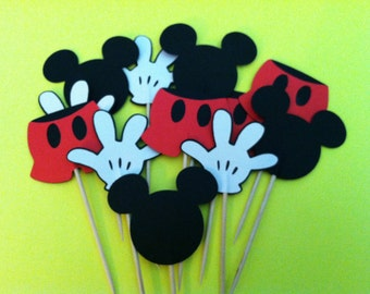 12  Mickey  cupcake toppers