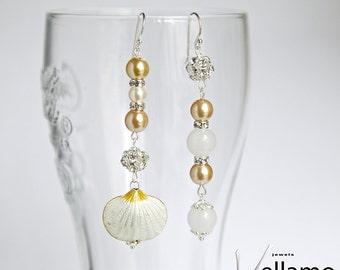 Golden beach asymmetrical long modern dangle sterling silver earrings with white cloisonne shell, golden Swarovski pearls, white jade