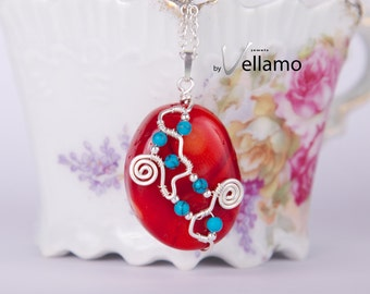 Red coral silver pendant wire wrapped with sterling silver and small blue turquoise stones, spiral shapes, one of a kind OOAK