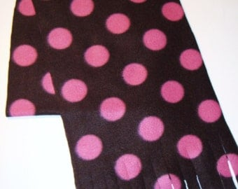 Fleece Scarf for Fall and Winter--Pink Dots on Dark Brown--Print Polar Fleece