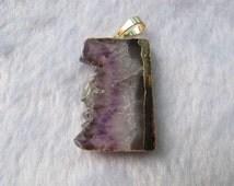 2014 hot sale new jewelry pendant natural amethyst geode drusy slice amethyst pendant purple gemstone pendant 20-40mm