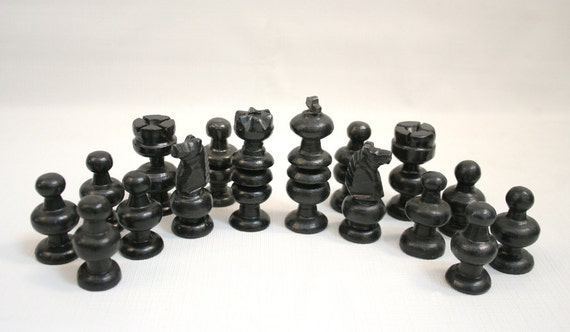 Chess men black onyx carved stone