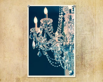 Fine Art Photo Print--Shabby Chic Blue and Pink Chandelier-- Fine Art Lomography 8x12
