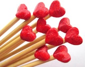 Heart Knitting Needles-- handmade polymer toppers on premium bamboo size 5