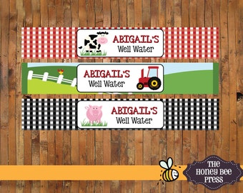 Farm Animal Barnyard Birthday  Well Water - Water Bottle Labels - DIGITAL FILES
