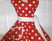 Sweetheart Retro Apron Red With Big White Polka Dots Circular Flirty Skirt