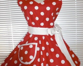 Sweetheart Retro Apron Red With Big White Polka Dots Circular Flirty Skirt