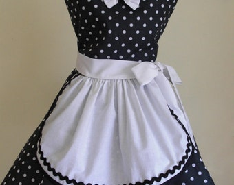 Retro French Maid Apron Pin-up Style Black and White Flirty Skirt Sweetheart Neckline