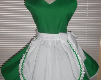 French Maid Apron Pin-up Retro Style Emerald Green and White Flirty Skirt Sweetheart Neckline