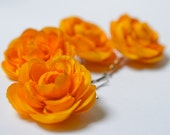 Yellow flower bobby pins, Yellow hair clips, Yellow wedding hair accessories - Boho hair blooms