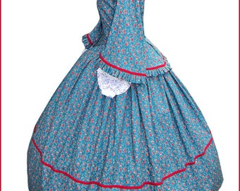 1800's 2 pc Civil War Victorian Dark Teal Green with Red Roses Tea Dress Day Gown Gorgeous New Reenactors Handmade