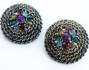 Vintage Multi Colored Glass Rhinestone Flower Earrings Clip On Purple Red Green