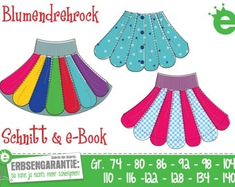 Flower Twirl Skirt, Euro size 74 to 134, US-size 9m to 9, digital pattern and PDF