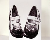 Pen Drawing Kitty Cat Mary-Jane Dolly Shoes Card - Black and White