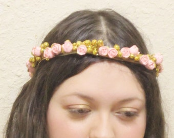 bridal headband, wedding headband, flower crown pink rose crown, gold headband, glitter headband, bridal halo headband, prom headband