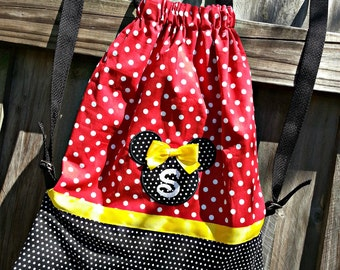 Personalized Disney Red Polka Dot Minnie Mouse Inspired Drawstring Backpack Purse