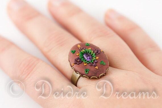 Flower Ring, Art Deco Ring, Cocktail Ring, Polymer Clay Ring, Clay Embroidery, Polymer Clay Flowers, Cameo Ring, Boho Ring