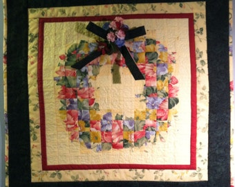 Quilted Wall Hanging-Pieced Floral Wreath with Bow and Floral Accents