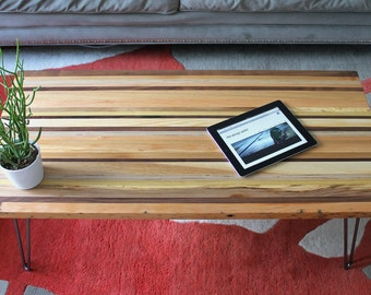Reclaimed OFF-CUT Wood coffee table with Hairpin Legs