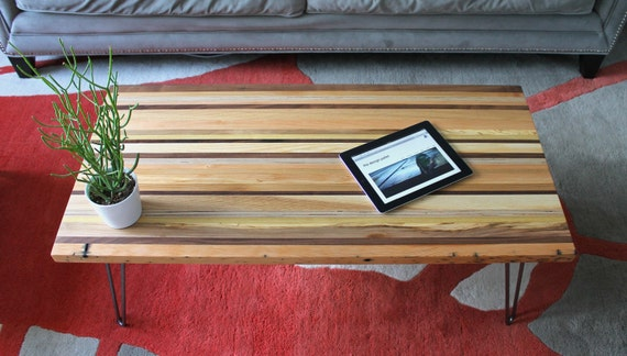Reclaimed WASTE Wood coffee table with Hairpin Legs