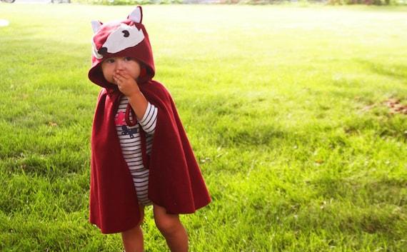 Fox Cape Halloween Costume Kids Dress Up Burgundy Red Fleece Hooded