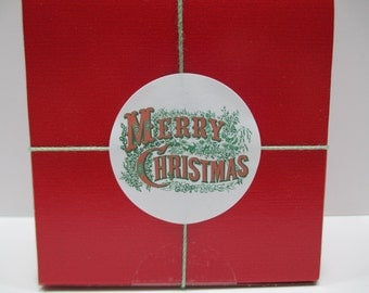 20 Merry Christmas Stickers, Vintage Red and Green