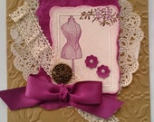 Handmade, Stamped and Embossed, Victorian Card