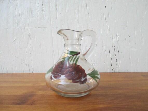 Gay Fad Cruet Hand-Painted Pine Cones, Anchor Hocking Vintage 1940-60s / Mid Century Retro Kitchen
