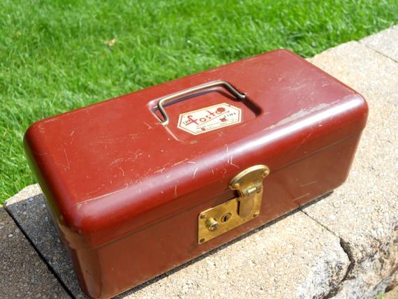Foster Industrial Metal Box/Tool Box/ Art Supply Box/ .Brick Red/Rustic