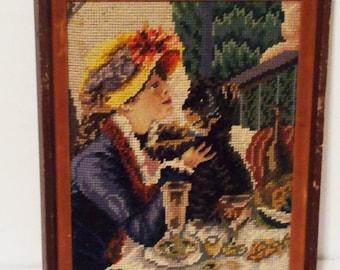 Vintage Renoir Needlepoiint Women with Dog