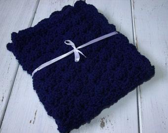 Crochet Baby Boy Stroller Blanket- Travel Blanket- Navy Blue MADE TO ORDER