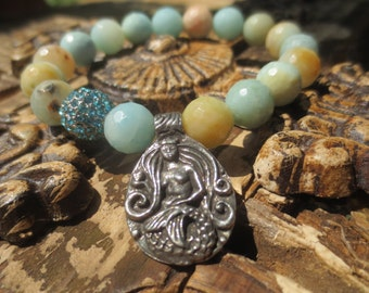 Faceted Amazonite Beaded Bracelet with Mermaid Medal and Swarovski Pave Ball