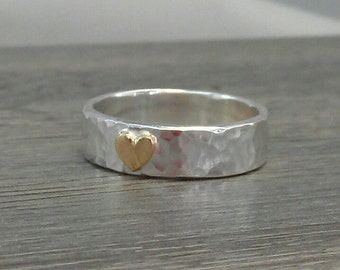 Little Loveheart wedding ring wide band - hammered 9ct white gold ring  with solid 14ct 14k yellow gold heart...