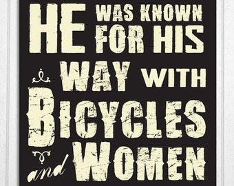 Mans Vintage Style Humorous Wood Bicycle Sign