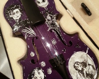Hand Painted Edward Scissorhands, Corpse Bride, Coraline, Nightmare Before Christmas Tim Burton Inspired Violin