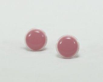 Rose Pink Stud Earrings 14mm - Rose Pink Earrings - Rose Pink Dainty Studs - Pink Romantic Earrings - Rose Pink Round Earrings