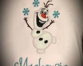Custom Appliqued Frozen inspired Olaf shirt