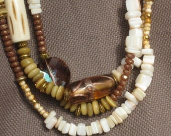 Necklace-Beaded Necklace-Beige Necklace-Tan Jewelry-Mother of Pearl Necklace-Gold Necklace-3 strand Necklace-Multi strand Necklace- Coral
