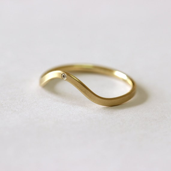 ON SALE Curved Wedding Ring Diamond Wedding Band 14k By Artemer