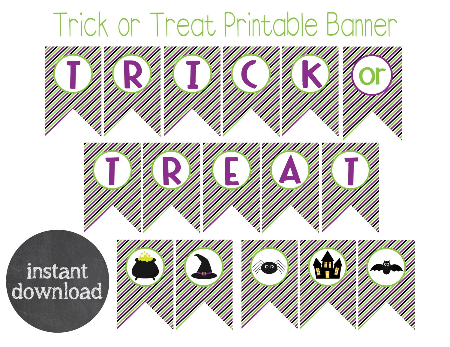 INSTANT DOWNLOAD Trick or Treat Printable Halloween Banner