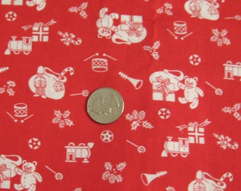 Red and White Christmas Teddy Bear Fabric