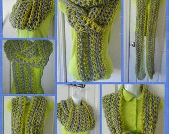 Grey n Green Scarf & Hat