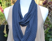Holiday sale - Buy one get one half off - Infinity scarf, loop, tube, circle, white/navy polka dot, summer scarf, fall scarf