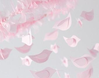 Bird Nursery Mobile in Pink - Nursery or Room Decor, Wedding Decor
