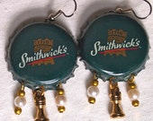 Chess Earrings, Bottle Cap Earrings, Castle, Rook, Green, Upcycled, Smithwick, Beer