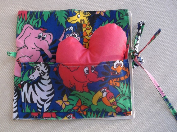Items similar to jungle friends cloth book animal fabric for Childrens jungle fabric