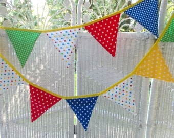 Fabric Banner- Primary Colors in Polka Dots, Birthday ,Photo Prop, Baby Shower