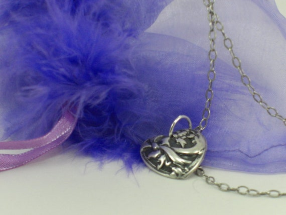 Heart Pendant 999.9 pure Silver on Sterling Silver Chain