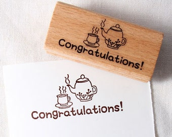 Teacup Congratulations! Rubber Stamp