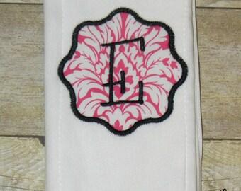 Hot Pink Damask & Black Embroidered Burp Cloth Rag